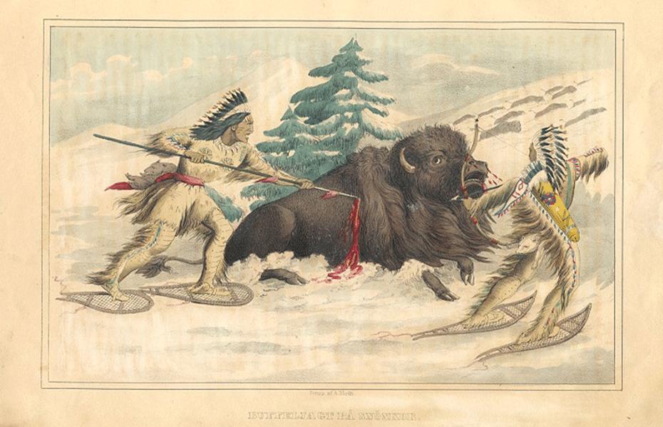 Nativos Americanos cazando Bisontes con raquetas de nieve